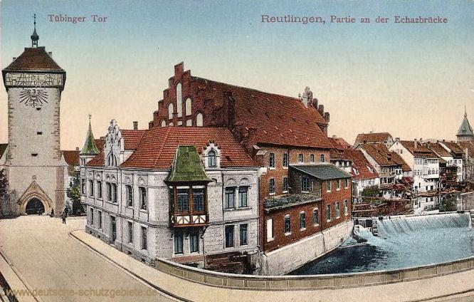 Reutlingen, Tübinger Tor Partie an der Echazbrücke