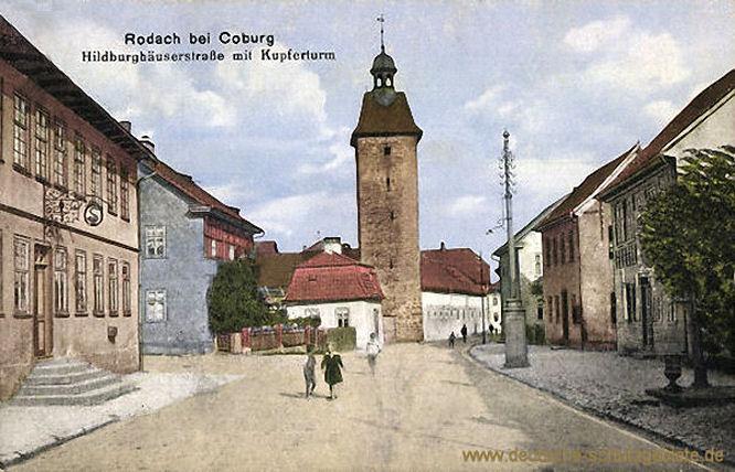 Rodach bei Coburg, Hildburghäuserstraße mit Kupferturm