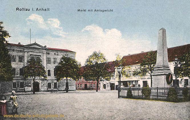 Roßlau in Anhalt, Markt mit Amtsgericht