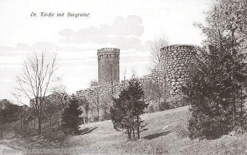 Schlochau, Evangelische Kirche mit Burgruine