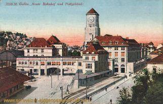 St. Gallen, Neuer Bahnhof und Postgebäude