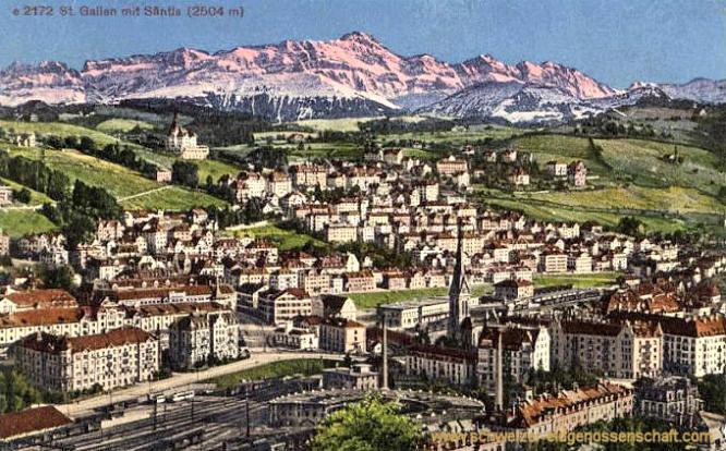 St. Gallen mit Säntis (2504 m)