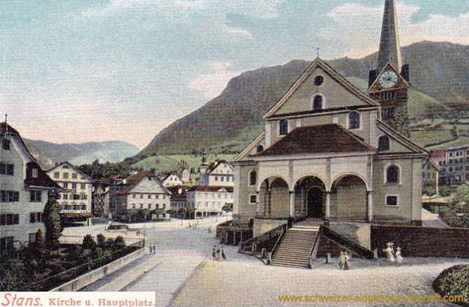Stans, Kirche und Hauptplatz