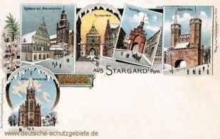 Stargard i. P., Heilige Geist-Kirche, Rathaus, Marienkirche, Mühlentor, Pyritzertor, Walltor