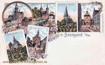 Stargard i. P., Markt, Mühlentor, Johanniskirche, Pyritzertor, Walltor, Marienkirche