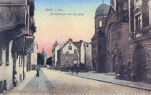 Stolp, Arnoldstrasse mit Synagoge