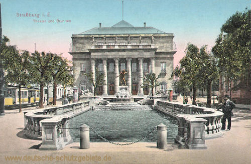 Straßburg i. E., Theater und Brunnen