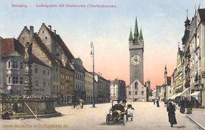 Straubing, Ludwigsplatz mit Chorbrunnen Tiburtiusbrunnen
