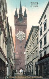 Straubing, Steinerstraße mit Stadtturm