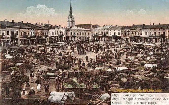 Stryj, Ringplatz während des Marktes