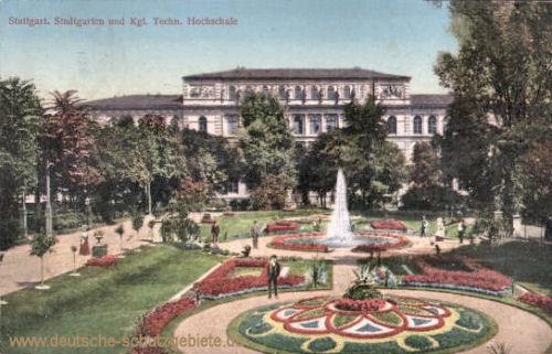 Stuttgart, Stadtgarten und Kgl. Techn. Hochschule