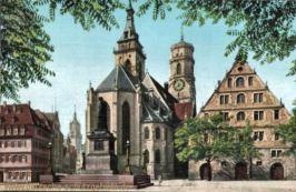 Stuttgart, Stiftskirche und Schillerdenkmal