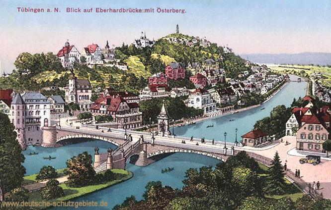 Tübingen a. N.,Blick auf Eberhardbrücke mit Osterberg