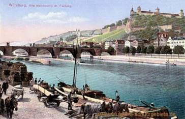 Würzburg, Alte Mainbrücke mit Festung