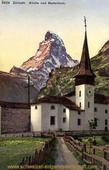 Zermatt, Kirche und Matterhorn