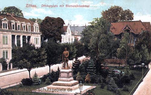 Zittau, Ottokarplatz mit Bismarckdenkmal