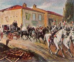 Kaiser Napoleon III. wird durch Bismarck zum König geleitet, 2. Dezember 1870