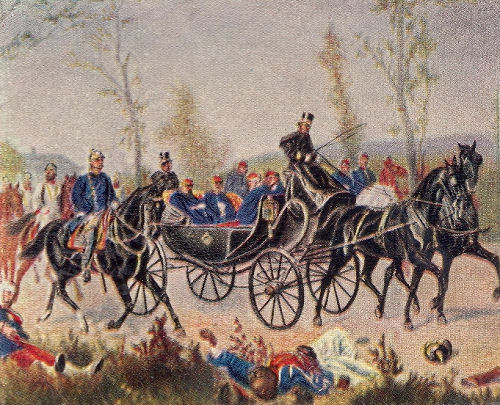 Kaiser Napoleon wird durch Bismarck zum König geleitet. 2. September 1870