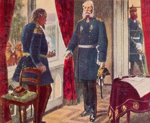 König Wilhelm und Kaiser Napoleon nach der Schlacht von Sedan. 2. September 1870
