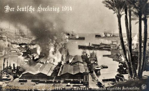SMS Goeben und SMS Breslau beschiessen algerische Hafenplätze