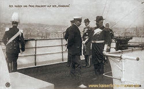 Der Kaiser und Prinz Adelbert auf S.M.S. Hamburg