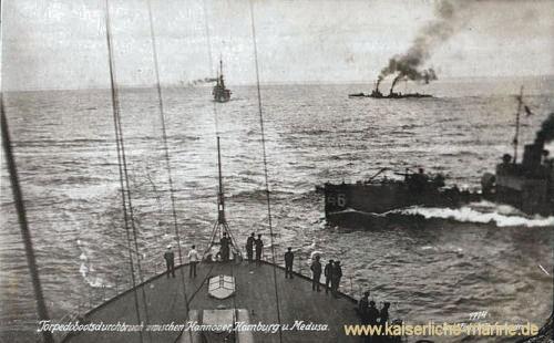 Torpedobootdurchbruch zwischen S.M.S. Hannover, S.M.S. Hamburg und S.M.S. Medusa
