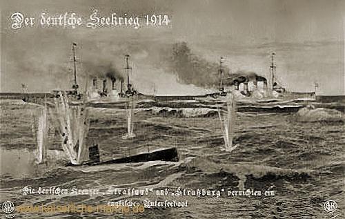 Der deutsche Seekrieg 1914. Die deutschen Kreuzer Stralsund und Straßburg vernichten ein englisches Unterseeboot.