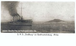 S.M.S. Strassburg vor Großfriedrichsburg