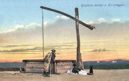 Gulyások delelöfe a Hortobágyon- Landschaft mit Hirten