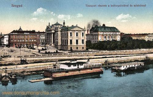 Szegedin (Szeged), Tiszapart résziete a kultúrpalotával és színházzal
