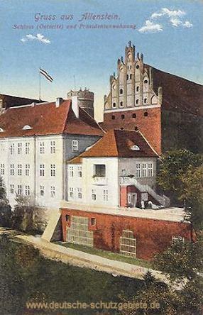 Allenstein O.-Pr., Schloss (Ostseite) und Präsidentenwohnung