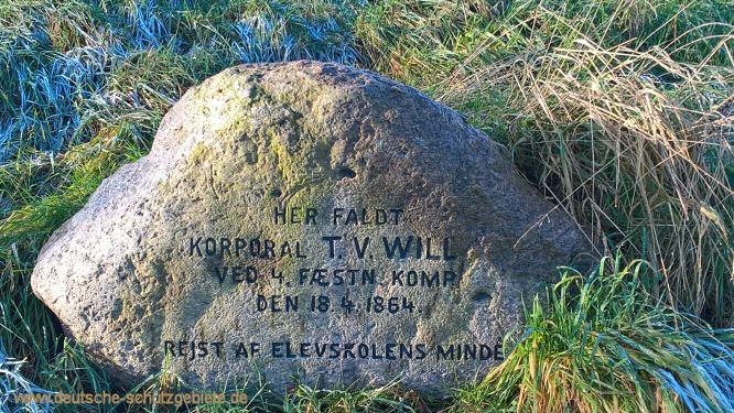 Korporal T.V. Wills, Gedenkstein an den Düppeler Schanzen