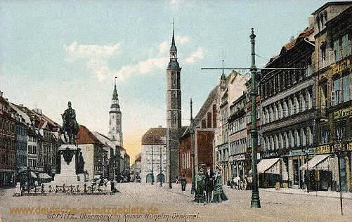 Görlitz, Obermarkt mit Kaiser Wilhelm-Denkmal