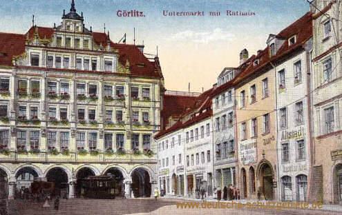 Görlitz, Untermarkt mit (neuem) Rathaus