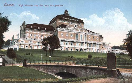 Kassel, Königliches Theater von der Aue aus gesehen