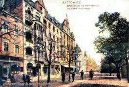Kattowitz, Bahnhofstrasse mit Hotel und Eisenbahndirektion
