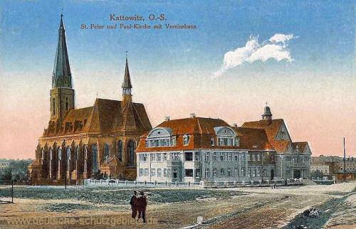 Kattowitz, St. Peter und Paul-Kirche mit Vereinshaus