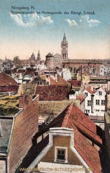 Königsberg i. Pr., Gesamtansicht im Hintergrund das Königliche Schloss