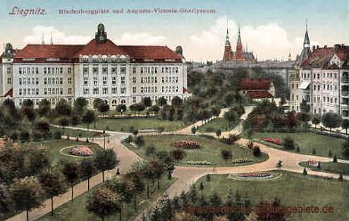 Liegnitz, Hindenburgplatz und Augusta-Victoria-Oberlyzeum