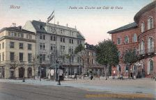 Mainz, Partie am Theater mit Café de Paris