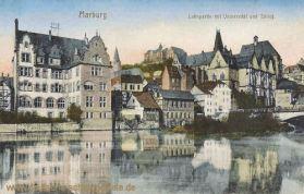 Marburg a. d. Lahn, Lahnpartie mit Universität und Schloss
