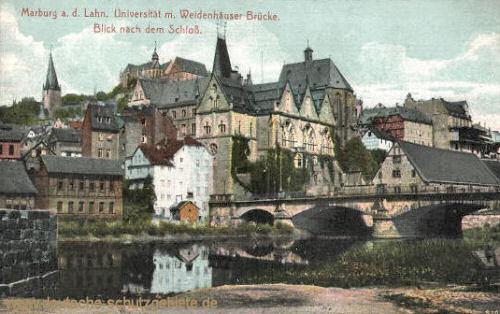 Marburg a. d. Lahn, Universität mit Weidenhäuser Brücke, Blick nach dem Schloss