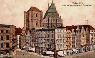 Neisse, Ring, Blick auf den Glockenturm und Pfarrkirche