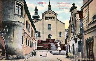 Oppeln, Städt. Krankenhaus und Curatialkirche (Bergelkirche)