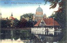 Oppeln, Schlossteich mit Eishaus und Synagoge