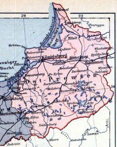Karte Ostpreußen.Provinz Ostpreußen Landeshauptstadt Königsberg Deutsche