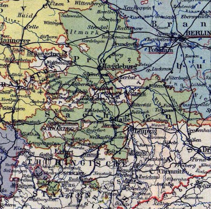 Provinz Sachsen, Landkarte 1900