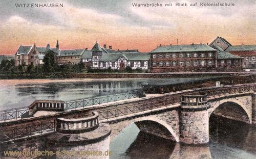 Witzenhausen, Werrabrücke mit Blick auf Kolonialschule