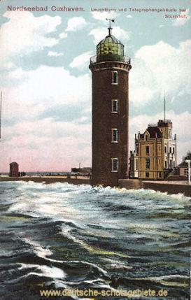 Cuxhaven, Leuchtturm und Telegraphengebäude