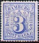 3 Schilling, Hamburg Briefmarke 1864
